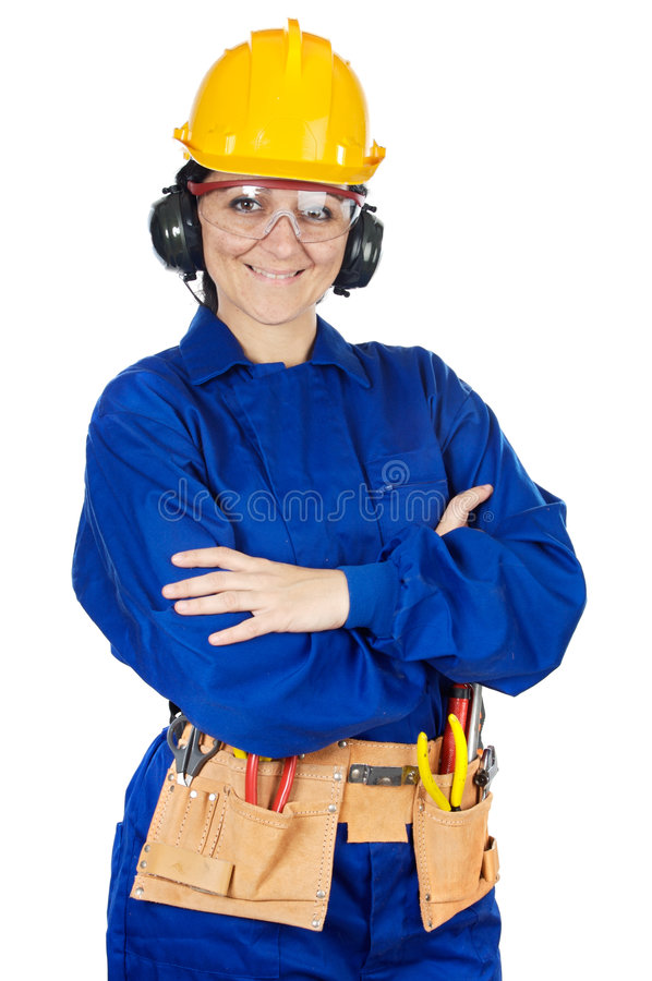 Lady construction worker royalty free stock image