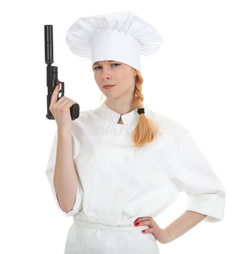 Lady Cook With Gun Royalty Free Stock Photography