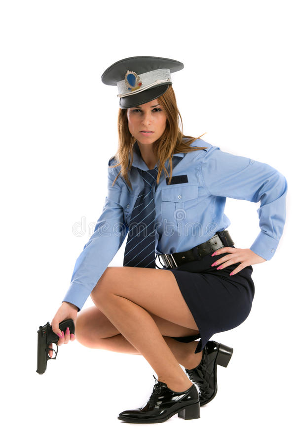 Download Lady cop posing with gun stock photo. Image of chick - 27884946