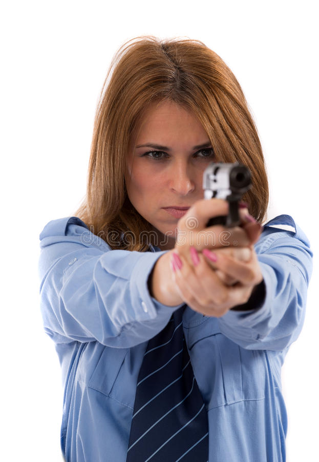 Download Lady cop posing with gun stock image. Image of holding - 27884971