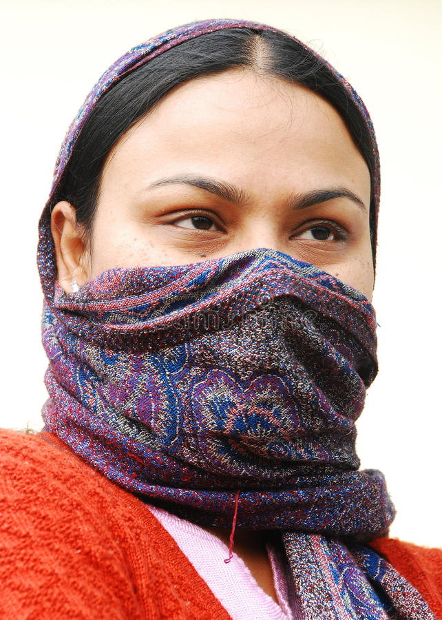 Download Lady with a covered face stock image. Image of portrait - 22083587