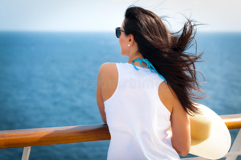 Lady on a cruise stock photos