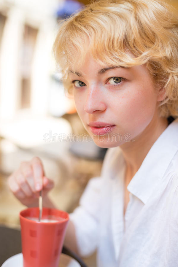 Lady With Cup of Coffee. royalty free stock image
