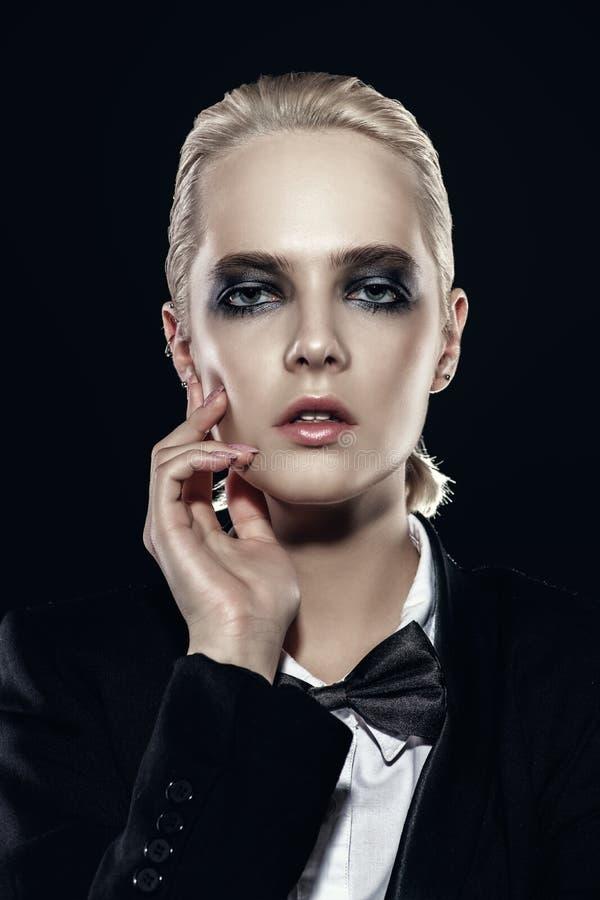 Lady with dark make-up stock photo