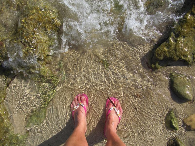 Lady dipping toes in to the shallow sea waters edge wearing flip flops. Ladies feet wearing pink flip flops on the sea shore.dipping toes and cooling down stock image