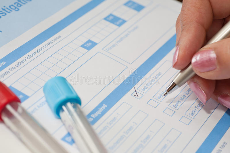 Download Lady Doctor Requesting Blood Test Stock Photo - Image: 19044206
