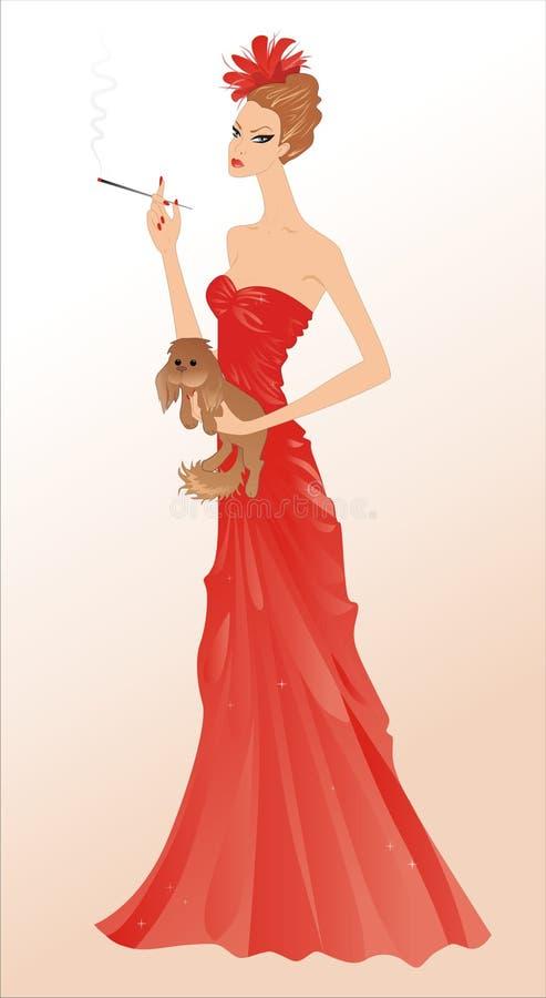 Download Lady and dog stock illustration. Image of lapdog, cigarette - 1963071