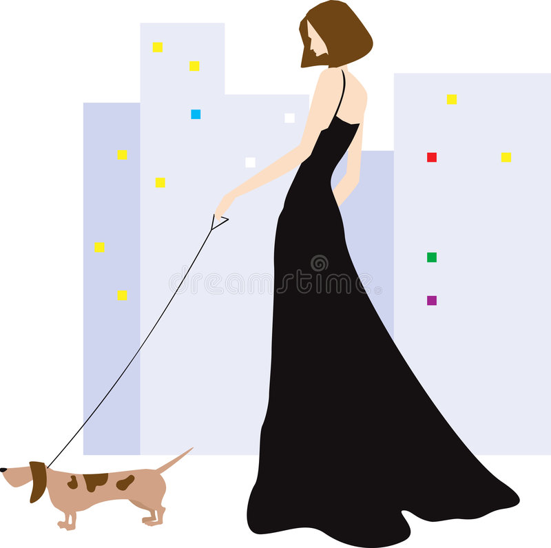 Lady and dog. Illustration of a lady is doing morning walk with her dog vector illustration