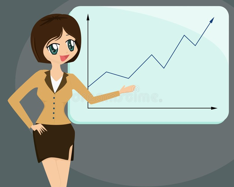 Lady doing a Business Presenta. Cute cartoon lady giving a business presentation royalty free illustration