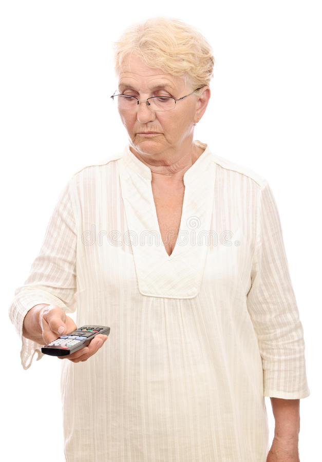 Lady in doubt with remote control