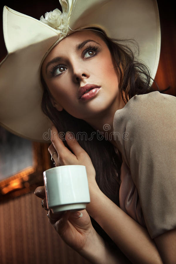 Free Lady Drinking Coffee Stock Image - 14516931