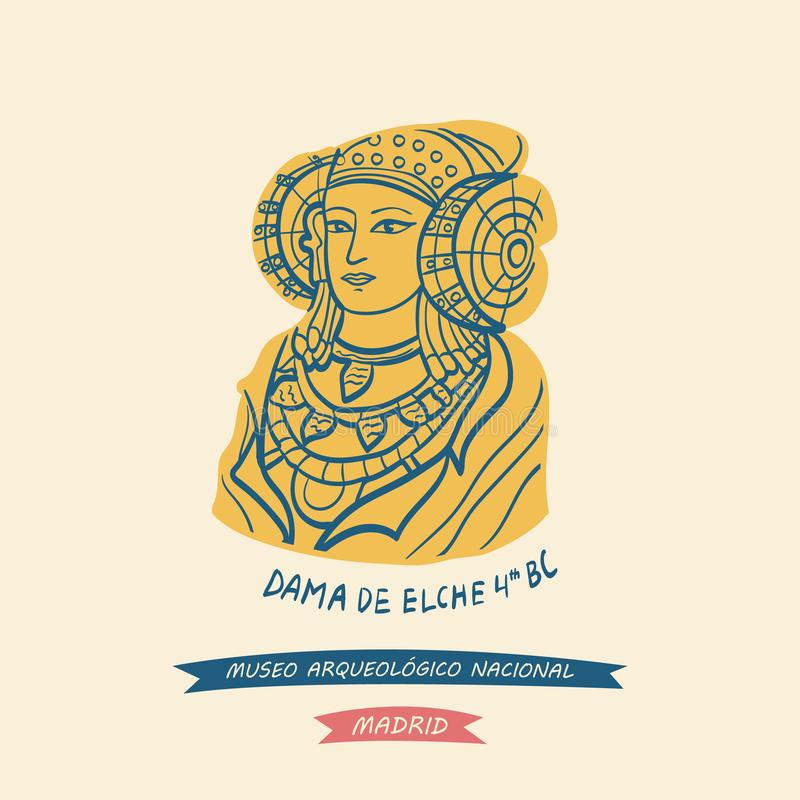 The Lady of Elche symbol of The National Archaeological Museum vector illustration