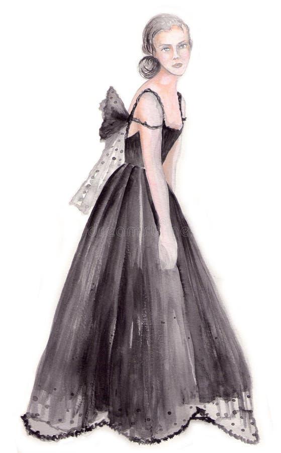 Lady in evening dress stock photos