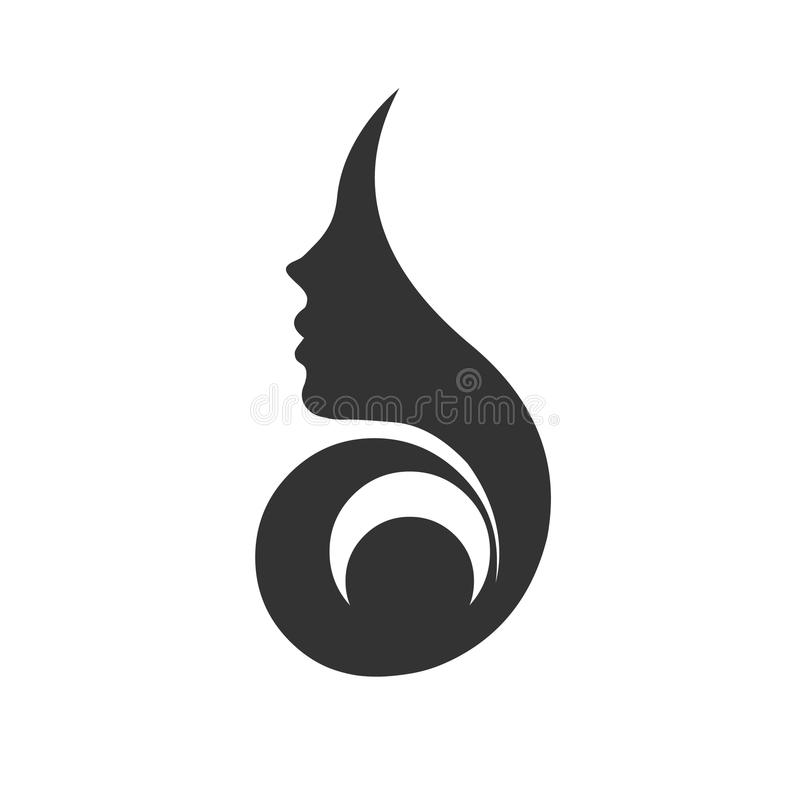 Lady face.Woman profile vector illustration.Woman face icon royalty free illustration