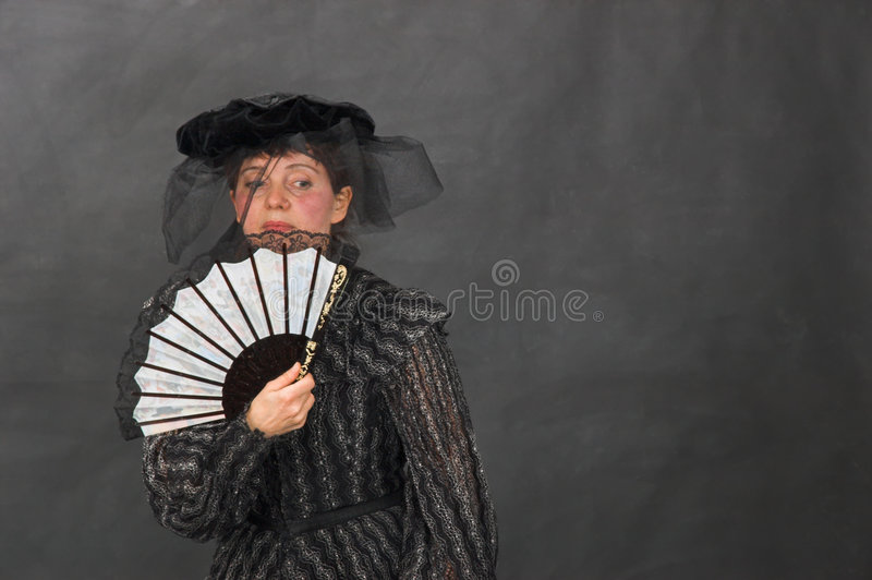 Download Lady with a fan stock photo. Image of meditativeness, veil - 8619732