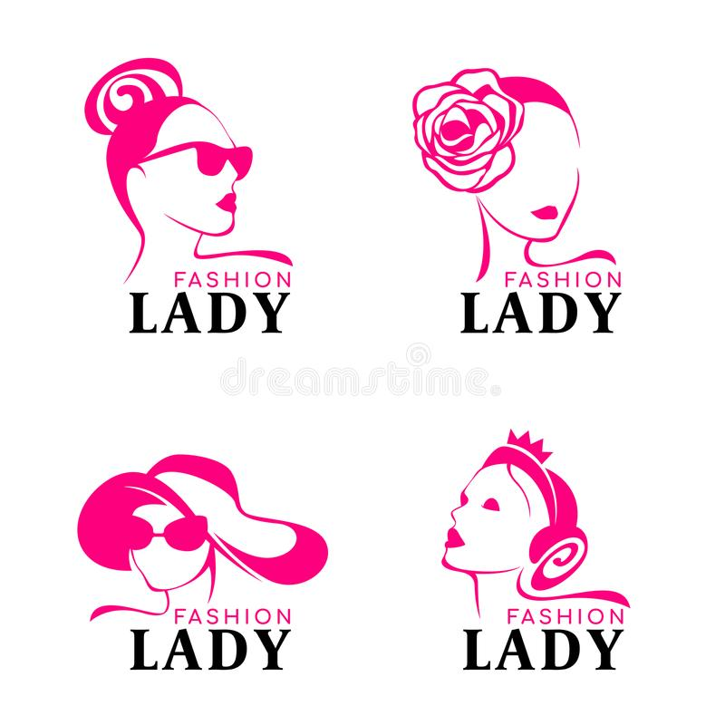 Lady fashion logo with woman face Wearing crown jewelery, hat goggles vector design stock illustration
