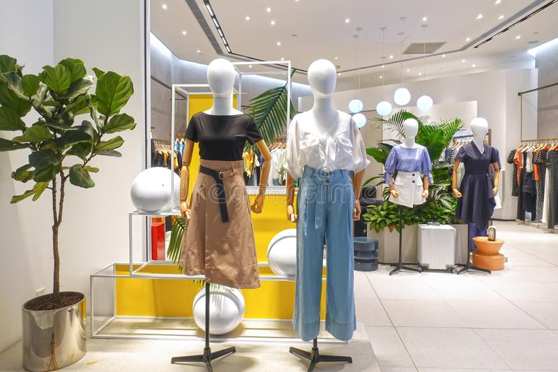Lady fashion shop mannequin front royalty free stock image