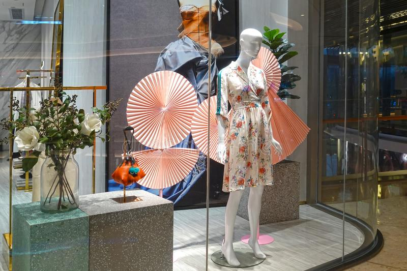 Lady fashion shop  window front clothing retail store royalty free stock images