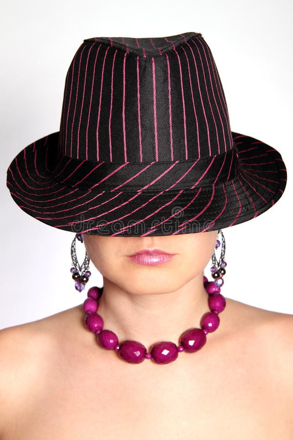 Lady with fedora stock images