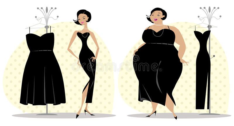 After and before diet royalty free illustration