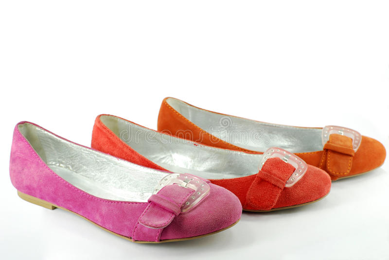 Lady flat shoes royalty free stock photo