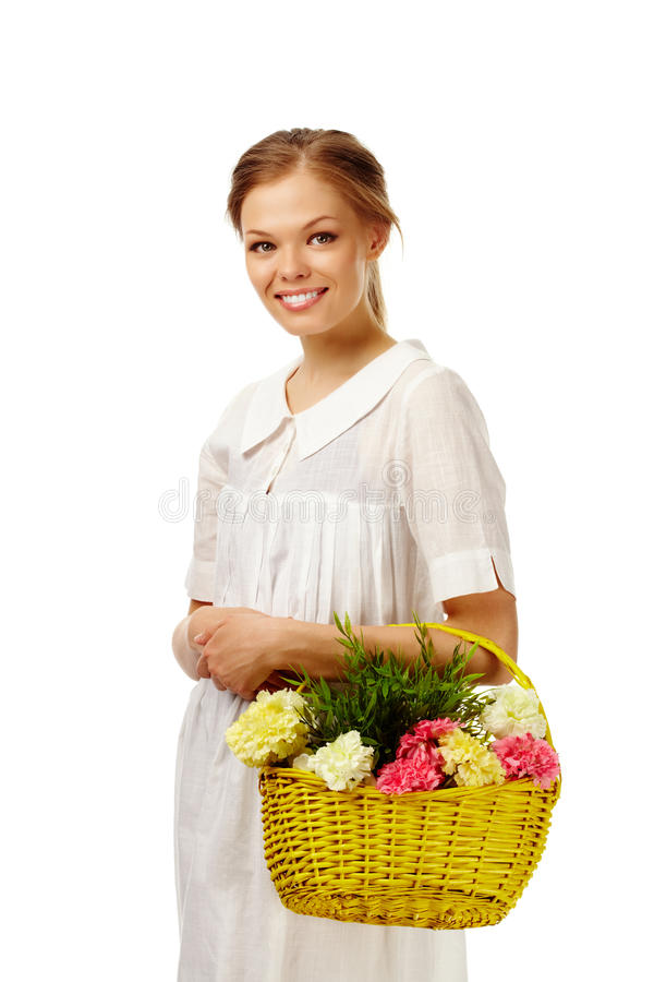 Download Lady with flowers stock photo. Image of feminine, florist - 21924018