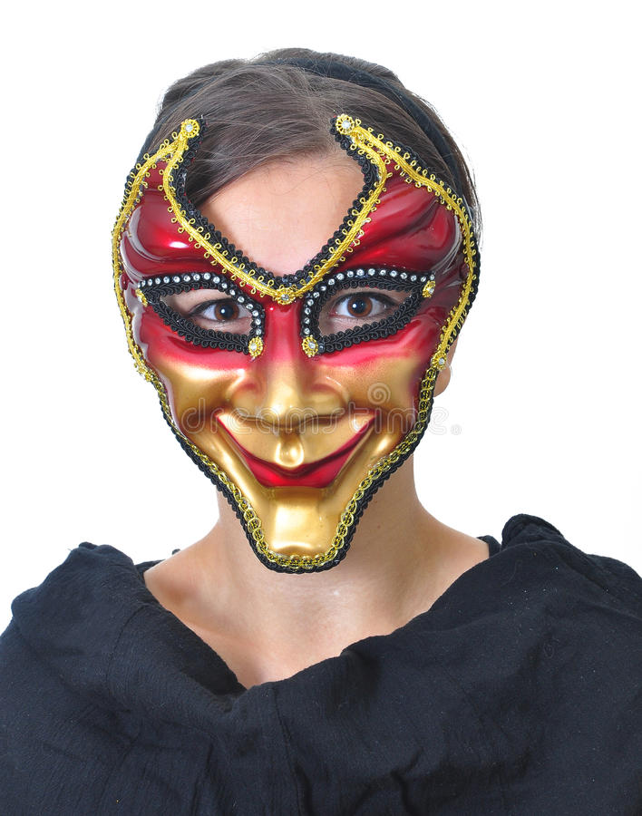 Lady In Mask stock image  Image of golden, curl, portrait