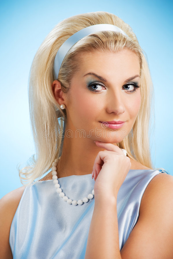 Lady funny retro portrait stock image