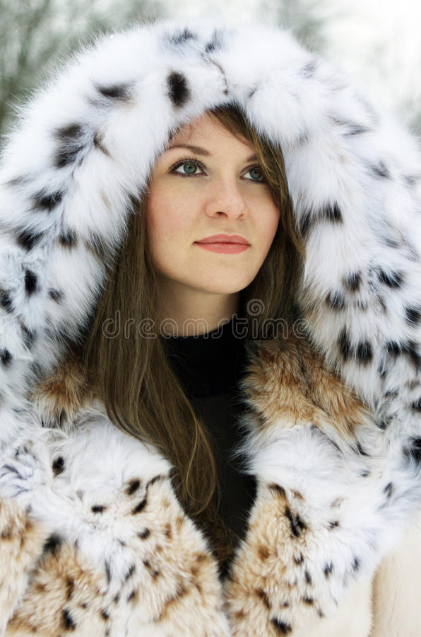 Download Lady in fur stock photo. Image of lips, lynx, girl, human - 11451676