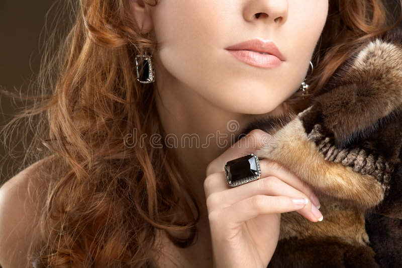 Lady with fur coat royalty free stock images