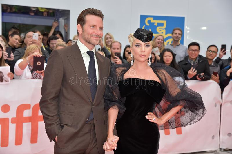 Lady Gaga and Bradley Cooper at premiere of A Star Is Born at Toronto International Film Festival 2018. Lady Gaga at premiere of A Star Is Born at Toronto royalty free stock image