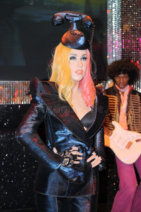 Lady Gaga at Madame Tussaud's stock images