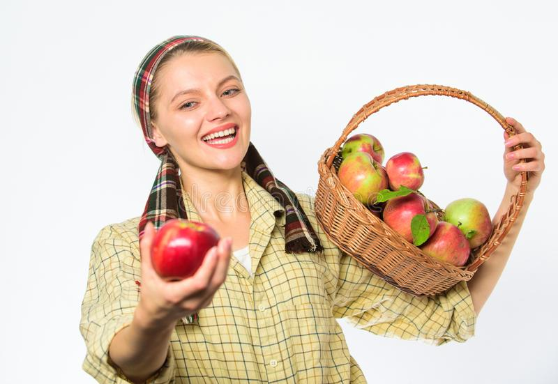 Lady gardener proud of her harvest. Woman gardener rustic style offer you apple on white background selective focus. Try. This ripe juicy apple. Woman sincere stock image
