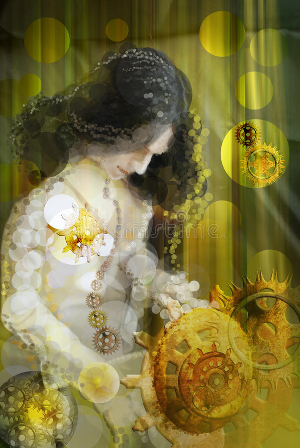 The lady with gears. Digital image in an abstract manner - the lady with the gears stock illustration