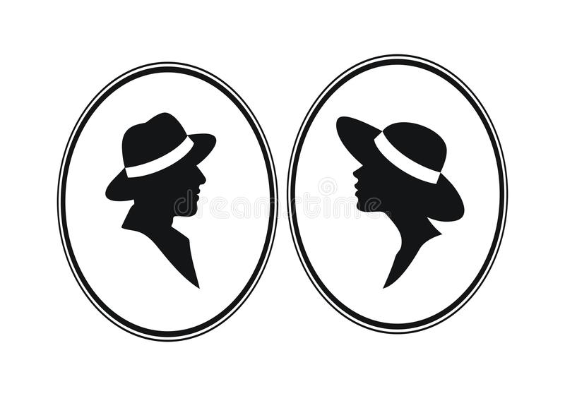 Silhouetted lady and gentleman