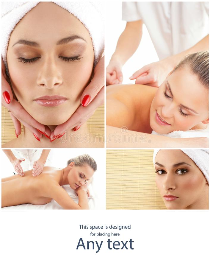 Lady getting spa treatment. Different pictures of women relaxing in spa. Health, recreation and massaging therapy. royalty free stock image