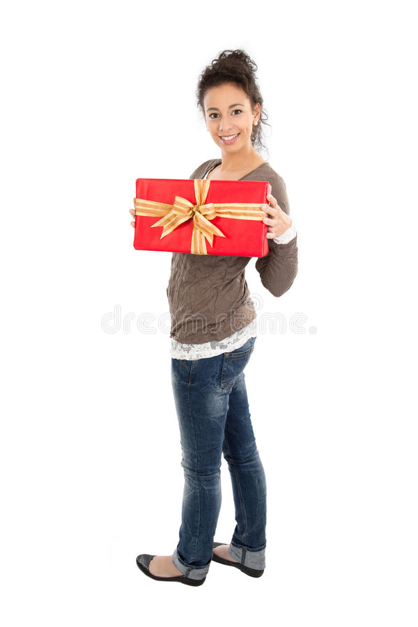 Download Lady with gift box stock image. Image of looking, donate - 35735009