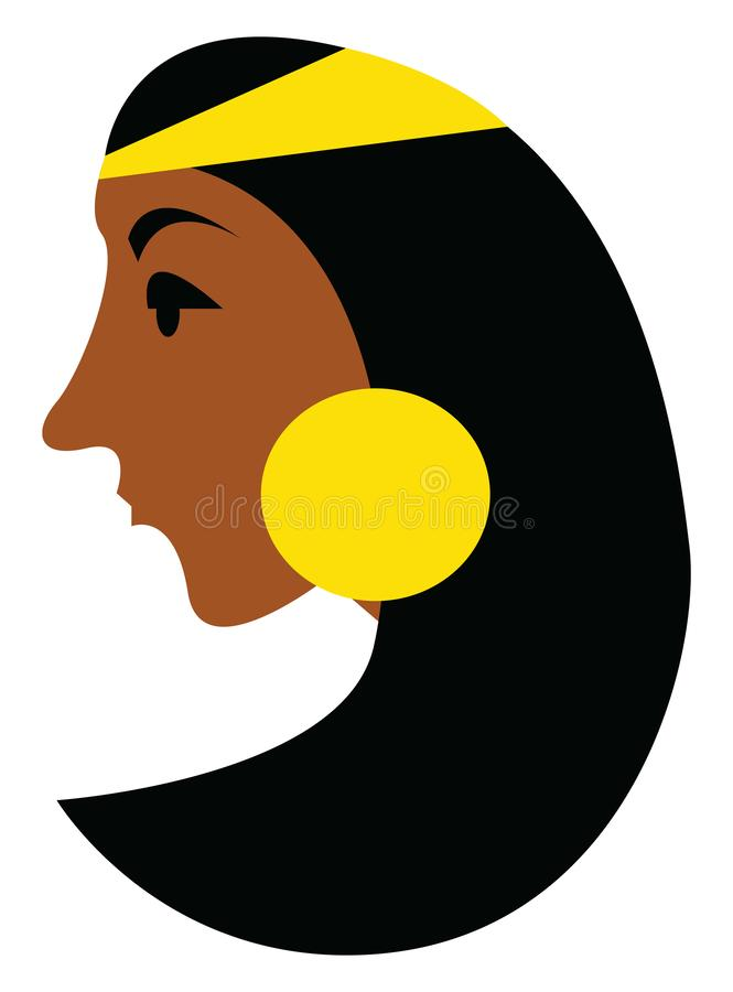 Lady with golden earrings and head ornament vector or color illustration vector illustration