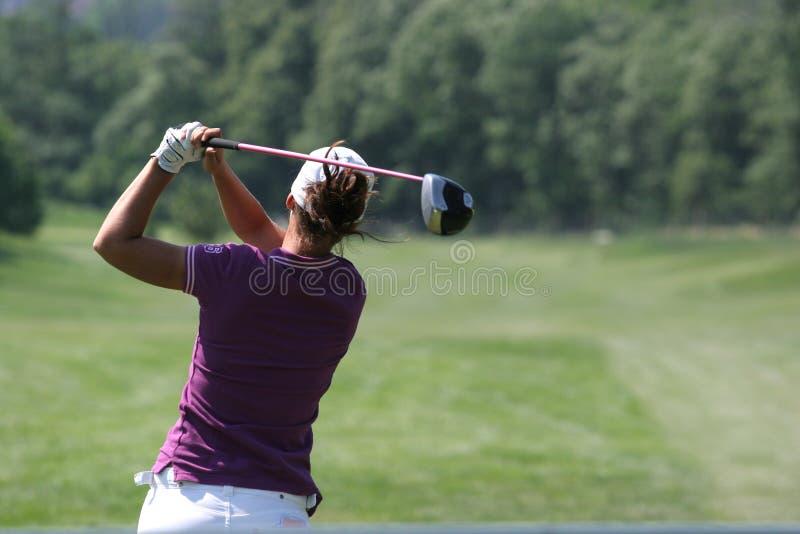 Lady golf swing stock photo