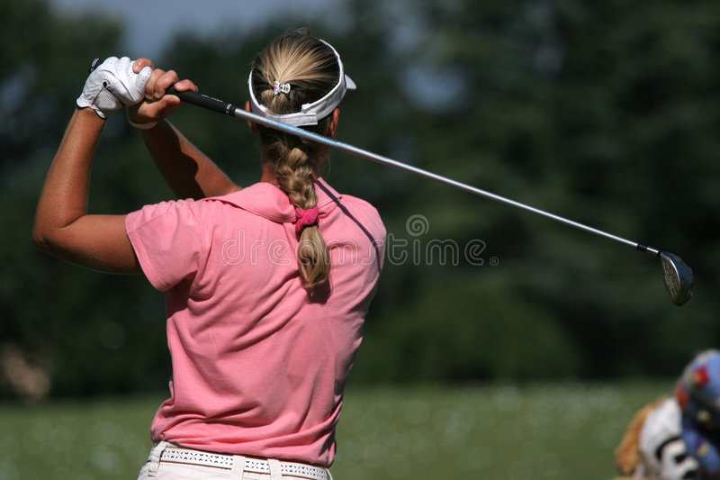 Lady golf swing stock photos