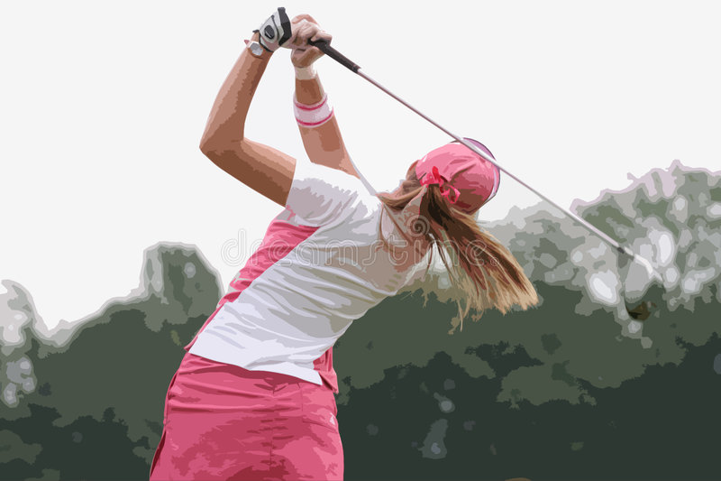 Lady golf swing royalty free stock photo