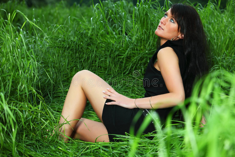 Download Lady in Grass stock image. Image of beauty, fashion, long - 9270871