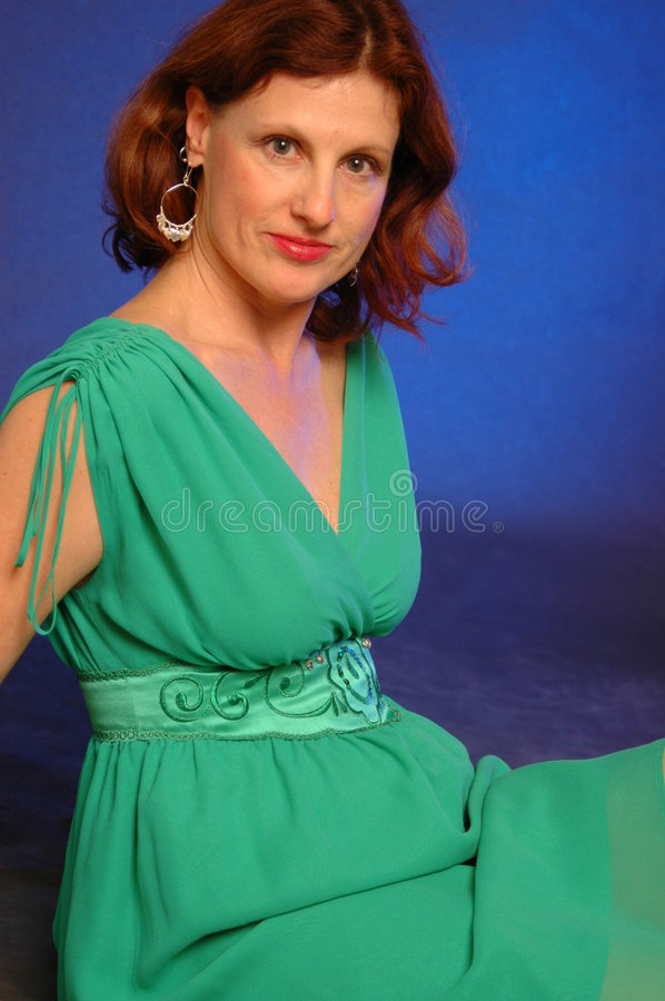 Lady in green version 2 stock photo