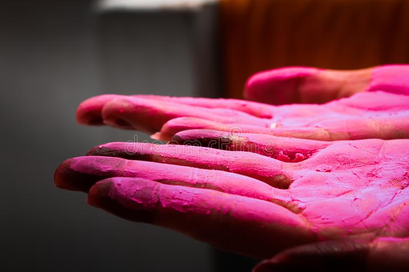 A lady displaying colured palm during holi festival in india royalty free stock images