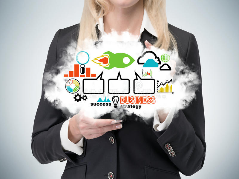 Lady is holding a cloud with the business strategy flowchart. Colourful business icons. Business lady is holding a cloud with the business strategy flowchart stock image