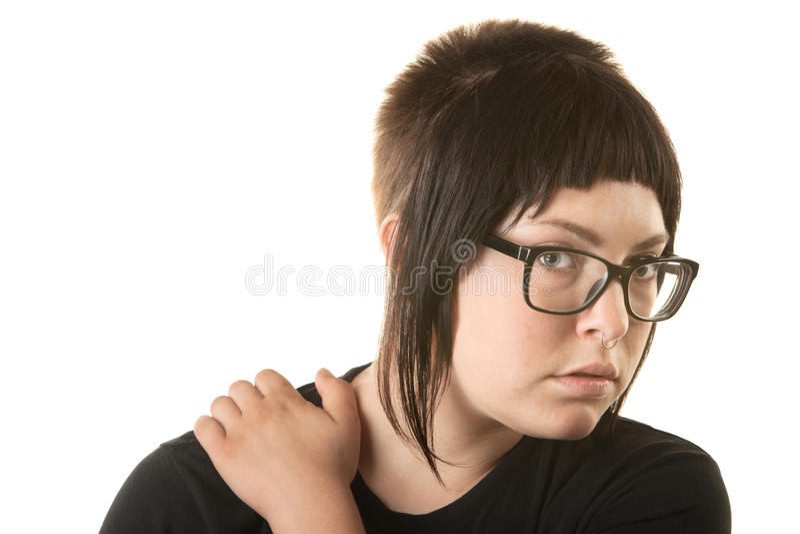 Lady Holding Her Shoulder stock image