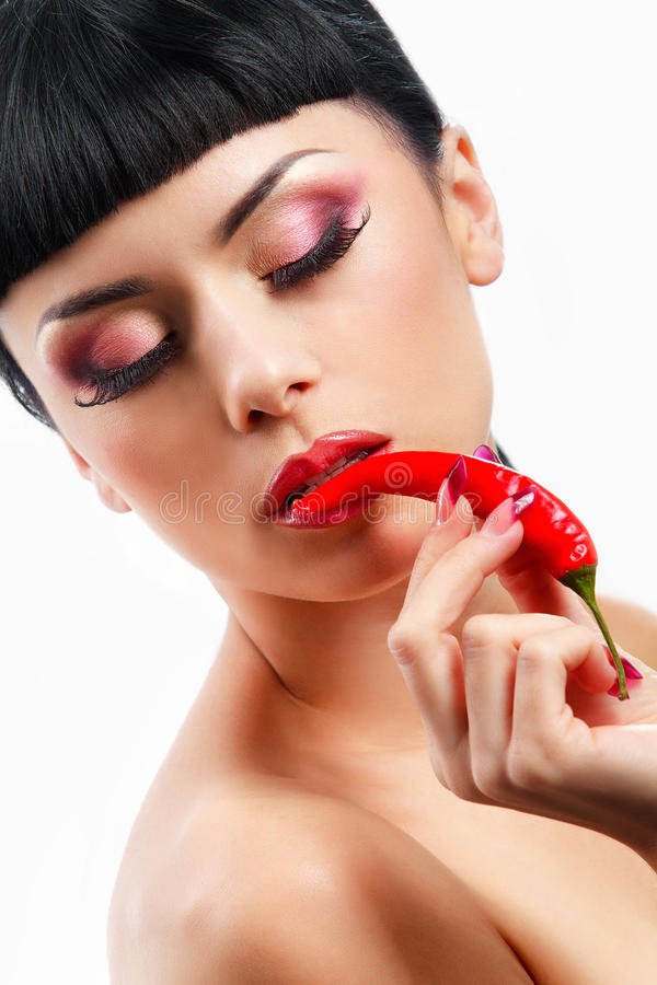 Download Lady Holding Red Chilli Peppers Stock Image - Image: 34168627