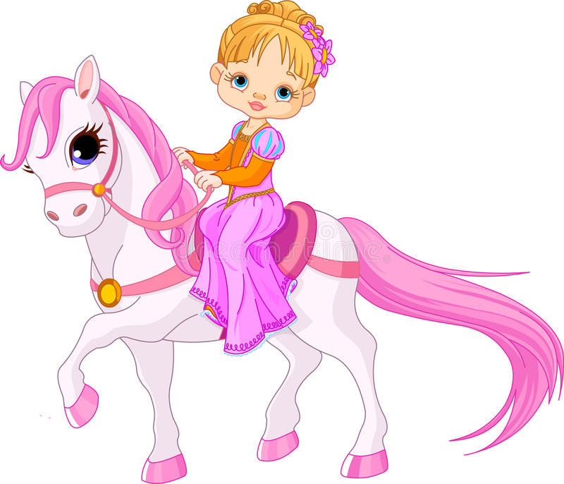 Lady on horse. Beautiful little lady riding on a horse royalty free illustration