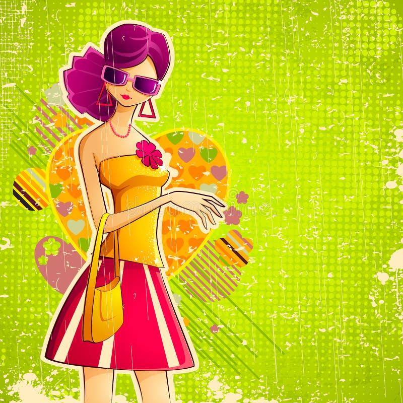 Lady i Retro stil vektor illustrationer