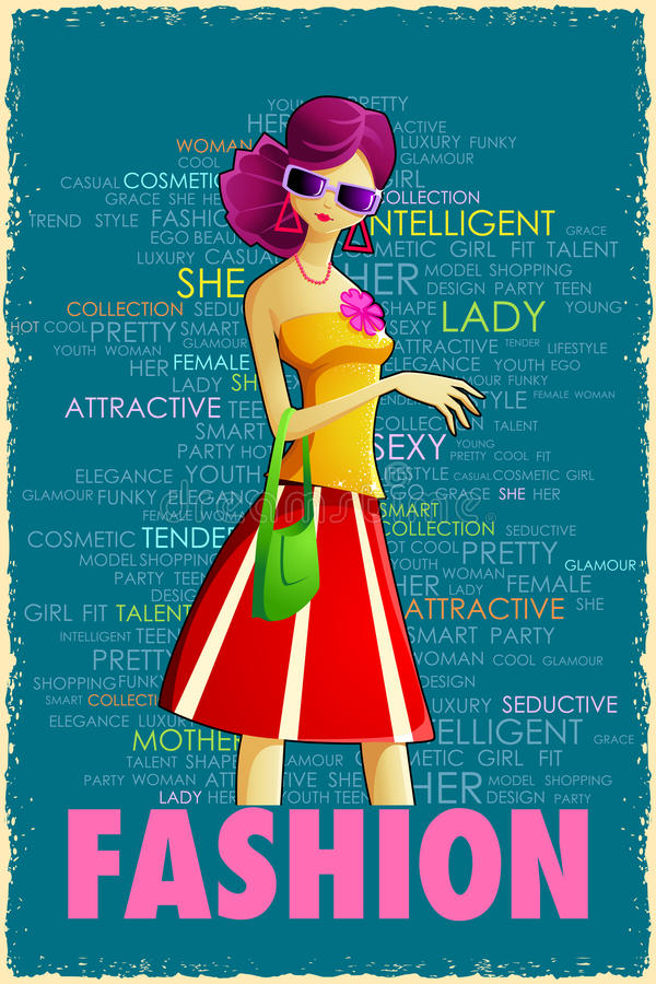 Lady i Retro stil royaltyfri illustrationer